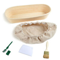 Set 5 Oval 35x15x8cm Bread Proofing Basket Dough Proving Bannetons Liner/Brush