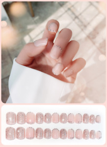 3D Rhinestones Clear Fake Nails Square Full Artificial Nail Tips Design French