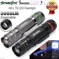 5000LM Zoomable XM-L T6 LED 18650 Flashlight Torch Super Bright Light Free
