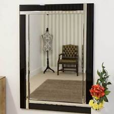 Large Modern Black Double Bevelled Edge Wall Mirror 2Ft4 X 3Ft4 70cm X 100cm