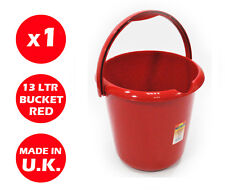 13 LITRE PLASTIC STORAGE BUCKET - WITH HANDLE - WASTE - WATER - LARGE - RED