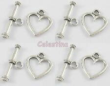 20 Antique Silver Plated Heart  TOGGLE & T BAR Sets - LF NF CF - Bracelet Clasps