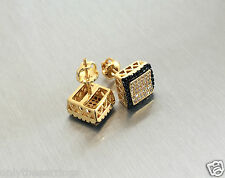 Mens Ladies 14K Gold Filled 0.3 ct. Lab Diamond Canary Screw Back Stud Earrings
