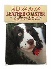 Springer Spaniel Dog and Flower Single Leather Photo Coaster Animal B, AD-SS74SC