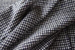 Beautiful Italian Navy/White Houndstooth Tweed Fabric