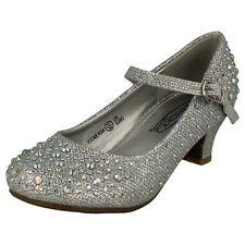 niña h3046 Tacones Diamante en la plata, color carne, Negro O Blanco Por Spot On