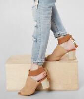 Toms Womens Seville Peep Toe Sandals Size 10 Suede Brown Heel Slingback 10011795