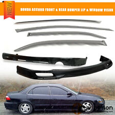 Fits 98-02 Honda Accord Sedan Front + Rear Bumper Lip Spoiler + Sun Window Visor