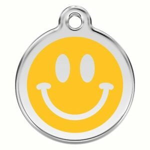 Engraved Dog / Cat ID identity Tags / Discs Smiley Face / Emoji Red Dingo (1SM)
