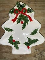 Vintage LEFTON White Holly Berry  Christmas Tree Ceramic Snack Dish