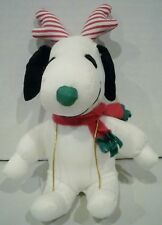 Whitmans Peanuts Snoopy Plush Green Nose Red Striped Antlers Scarf