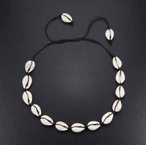 Celebrity Black Natural Cowrie Beach Boho Handmade Shell Choker Pendant Necklace