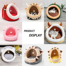 Pet Cat Dog Cave Bed Plush Soft Warm Nest House Winter Sleeping Igloo Kennel