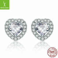 Fit 925 Sterling Hearts Love CZ Stud Earrings for Women Lady New Arrival Earring