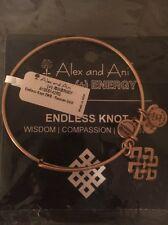 NWT Alex and Ani Rafaelian Gold Endless Knot Bangle Bracelet Card and Pouch