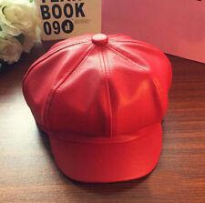 Charm Women Unisex's Retro Peak Cap Beret Caps Octagonal Faux Leather Hat