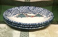Folkcraft by Tienshan, Cabin in the Snow Spongeware Dinner Plates, Set of 3