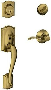 Camelot Single Cylinder Handleset and Right Hand Accent Lever, Antique Brass...
