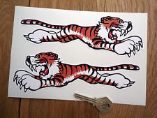 LEAPING TIGER Triumph Sunbeam STICKERS 200mm Pair Classic Car Bike Race Racing