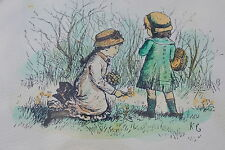 MidCentury Vintage Childrens Art by Kate Greenaway Lithograph w/ Gallery opinion