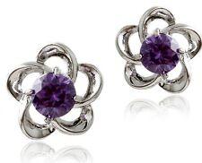 Silver Tone Flower Earrings Studs use Purple Swarovski Crystals