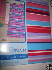 Pink Red Purple Blue Teal Horizontal Bright Stripe Vinyl Shower Curtain New