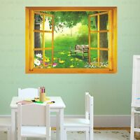 Large 3D Window Garden View wall stickers Mural Art Wallpaper Decor Home Decal