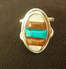 VINTAGE HOPI INDIAN SNOW HORSE SIGNED STERLING SILVER RING MIXED STONE TURQUOISE