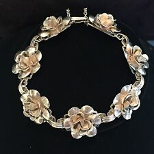 VINTAGE  STERLING SILVER ROSE FLOWER BRACELET WITH SAFETY CHAIN