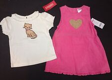 NWT Gymboree Smart Kitties 18-24 Pink Leopard Heart Jumper Dress & Kitty Tee