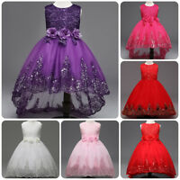 Flower Girl Princess Dress Bowknot Lace Trailing Gown for Kid Wedding Bridesmaid