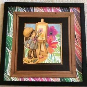 Little Artist, Handmade OOAK Collage Wall Art, Gift for Teacher, Crafty Decor