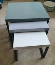 "Habitat ""Kilo"" side table nest, 3 tables, solid oak + Metal (Grey)"