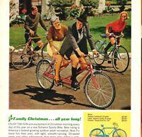 1963 Schwinn Bicycles Family Christmas 10 Speed Tandem Racer Vintage Print Ad