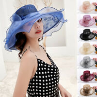 USA Women Wide Brim Kentucky Derby Sun Hat Vintage Wedding Tea Party Church Cap