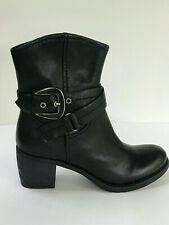 NINE WEST R-SPAN Black Buckle Ankle Fashion Boots Booties LEATHER Size 6M EUC