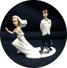 Snake Lover Groom Top Wedding Cake Topper Running Scared Bride Funny Reptiles