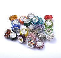 10Pcs Big Hole Czech Crystal Rhinestone Pave Rondelle Fit European Charms Beads