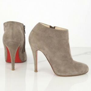 CHRISTIAN LOUBOUTIN size 35 Belle 100 Grey Suede Ankle Boots Classic
