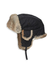 Surell Rabbit Fur-Trimmed Black Men's Trooper Hat Size M / L NEW $148