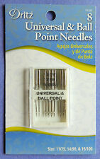 Dritz 8 UNIVERSAL & BALL POINS Needles SIZE 14/90,11/75 &16/100 FOR HOME MACHINE