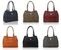 Womens Bow Double Zip Compartments Tote Shoulder Handbag Ladies Shopper Winter