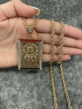 YELLOW GOLD PLATE Square Malverde Sinaloa Narco Saint CZ Pendant & Rope Chain