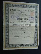 BELGIQUE BRUXELLES BANQUE DES TRAVAUX PUBLICS OBLIGATION AU PORTEUR 1881