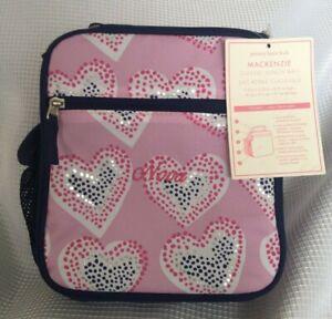 """Pottery Barn Kids Mackenzie Pink Glitter Heart Classic Lunch Bag """"Nova"""" NWT NLA"""