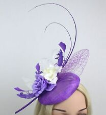 STUNNING PURPLE & CREAM SINAMAY FASCINATOR WITH FEATHERS, NETTING & FLOWERS