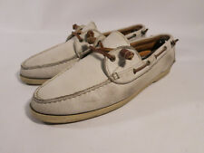 7ea7a564f6 Ralph Lauren Made USA 10.5 D White Leather Boat Shoe Moc Loafers Rancourt