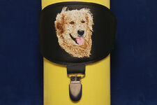 Golden Retriever arm band ring number holder with clip. For dog shows.