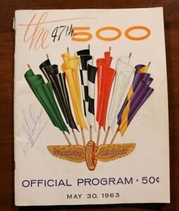 Indianapolis 500 1963 Program Signed Autographed Indy Car Racing Vintage 60s