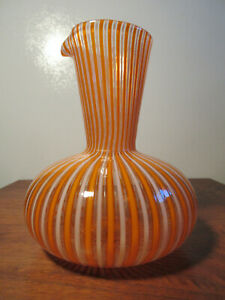 vintage MCM MURANO VENINI GIO PONTI ART GLASS CARAFE in ORANGE & WHITE STRIPE